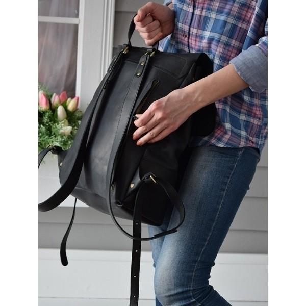 Рюкзак кожаный Sampo Black